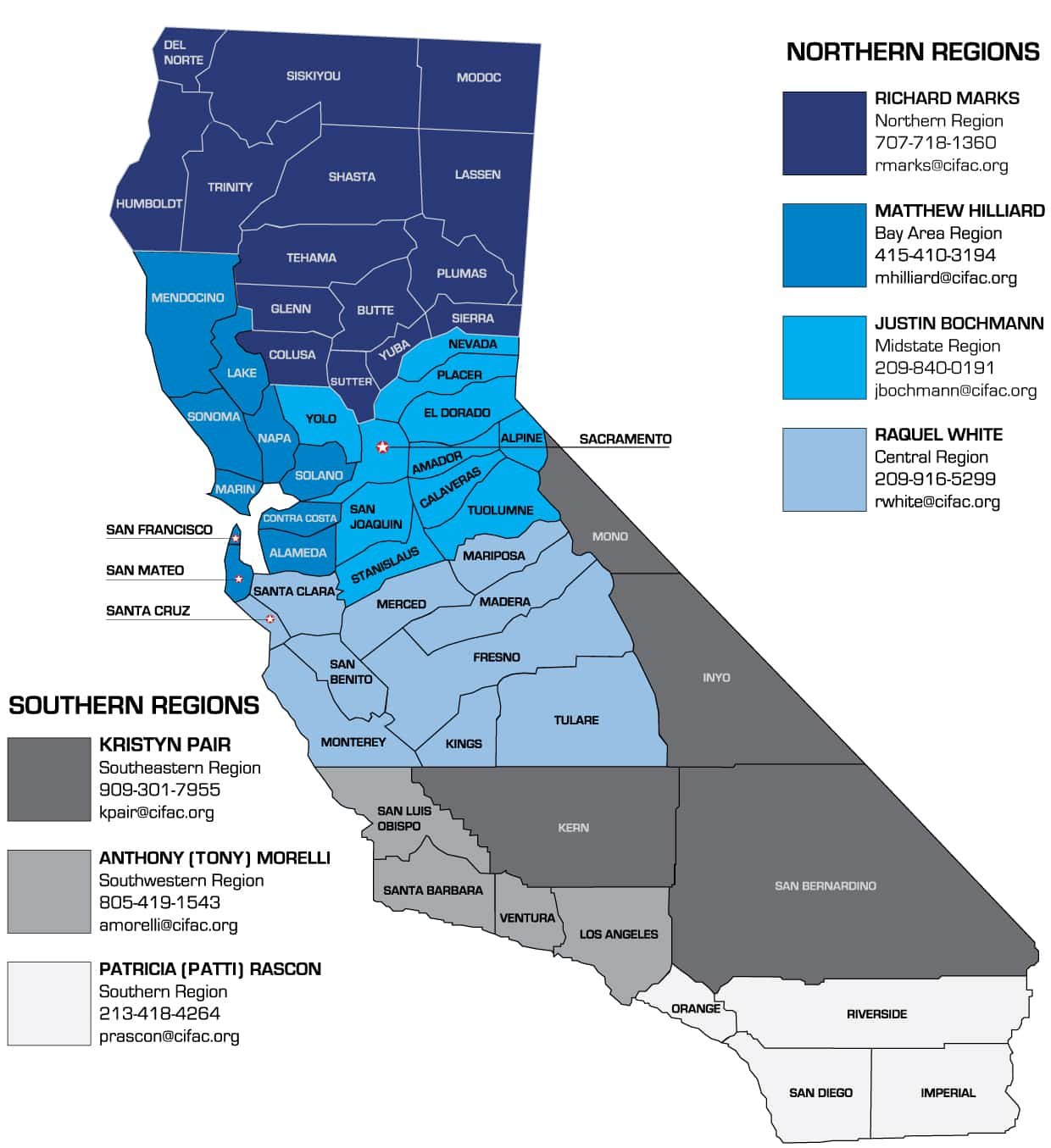 CIFAC Regional Compliance Manager's Territory Map